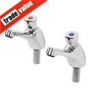 H and C Self-Closing Non-Concussive Bathroom Basin Taps Pair ½""